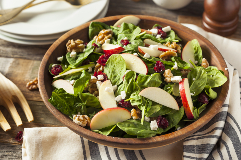 Apple, walnut, spinach salad