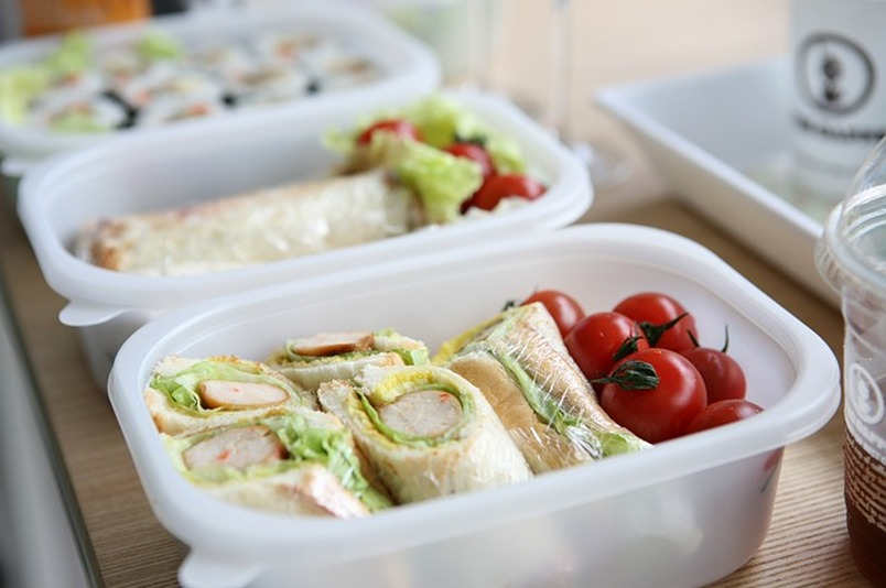 meal prep containers with food